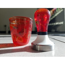Glass tamper & cup set - Volcano red