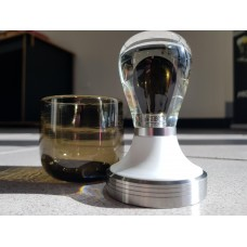Glass tamper & cup set - chocolate